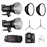 Godox SK400II 400WS Professional Photography Studio Strobe Kit x2, with X1T-S TTL Wireless Flash Trigger, 120cm Bowens Mount Softbox x2 and 2m Light Stand x2