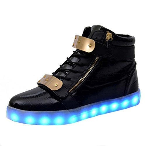 LED Light Up Sneakers Buckle Strap High Top LED Shoes for Mens Womens Christmas Halloween Gift(Black 44/13 B(M) US Women / 9.5 D(M) US Men) -