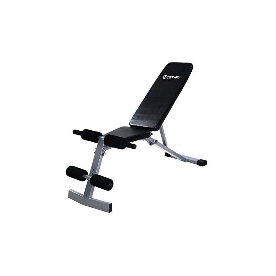 Goplus Incline Sit Up Bench Foldable Slant Board Ab Crunch Board Adjustable Workout Fitness Equipment (Incline, Decline, Flat)