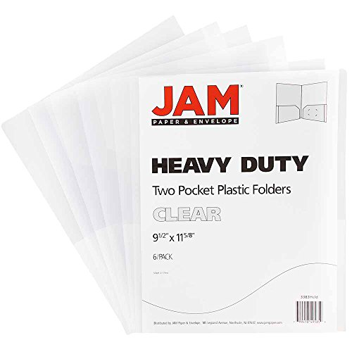 (JAM PAPER Heavy Duty Plastic 2 Pocket School Folders - Clear -)