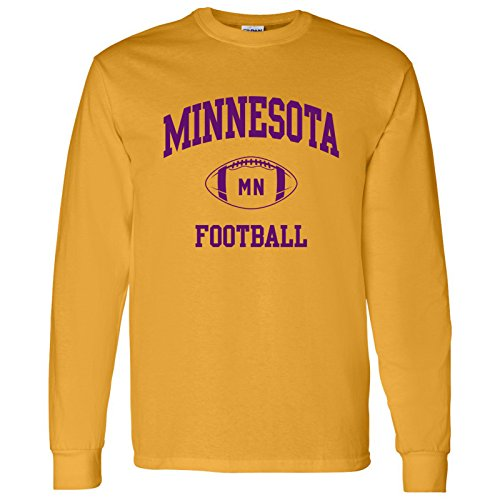 Minnesota Classic Football Arch American Football Team Long Sleeve T Shirt - Large - Gold Gold Football Fan T-shirt