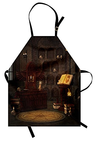 Ambesonne Gothic Apron, Chamber of Secret Rite with Skulls on The Wall Sorcery Spell Image Print, Unisex Kitchen Bib with Adjustable Neck for Cooking Gardening, Adult Size, Brunette Brown