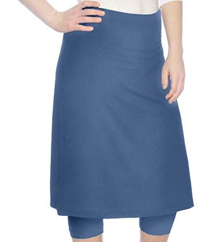 Skort Jean Skirt (Kosher Casual Women's Modest Knee Length Sports Skirt with Leggings Small Jeans Blue)