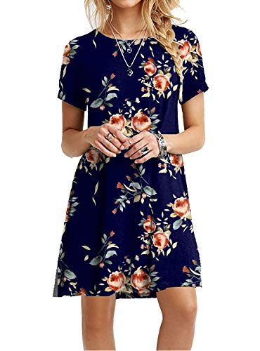 Women's Summer Floral Dresses Short Sleeve Tunic T Shirt Swing -