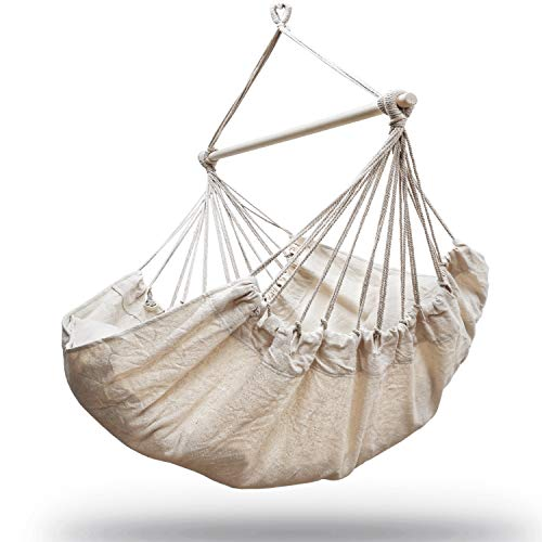 Nature Gear Large Hammock Swing Chair – Superior Support – Pillows and Mounting Kit with Carabiner Included – Breathable Fabric – Easy Setup