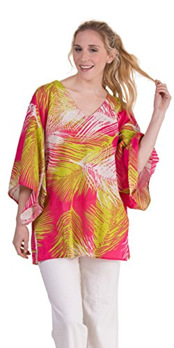 Peppermint Bay 100% Cotton Beach Cover Up in Divine (Pink/Lime/Wjite, Small/Medium (6-12))