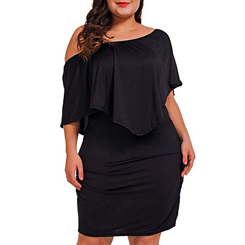 NUONITA Women's Off Shoulder Plus Size Dresses Ruffles Bodycon Mini Dress(Black,XXL)