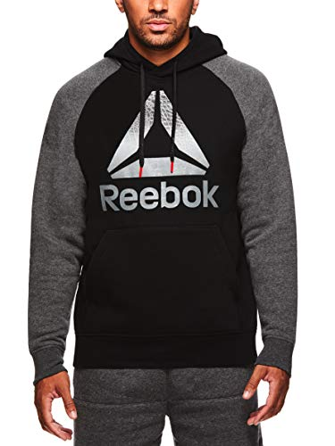 Reebok Men's Performance Pullover Hoodie - Graphic Hooded Activewear Sweatshirt - Black Paulie, Small