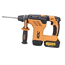"""NENZ NZ-80C 600W DC 18V 1-3/16"""" SDS-plus Multi-function Rotary Hammer Drill with 2 Lithium Batteries and BMC Box"""
