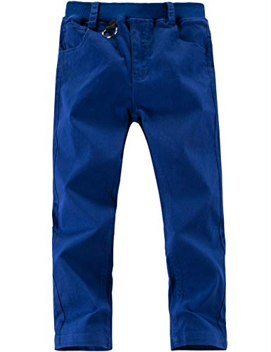 0ce127c788 WIYOSHY Boys' Casual Cotton Pants Elastic Waistband Slim Fit Pull On  Joggers (Royal Blue, 120 (Size 6))
