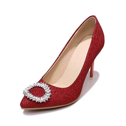 Zapatos Aguja Hhgold Plana Baile Alto Rojo color 37 Oro Bombas Sandalias Tamaño Nupciales Tacón Cristal Fiesta Tacones Vestido 43 De Eu44 Pu Mujeres f86fxrqZ7
