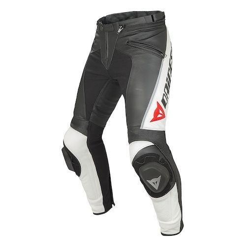 Dainese Delta Pro Black White Leather Motorcycle Pants