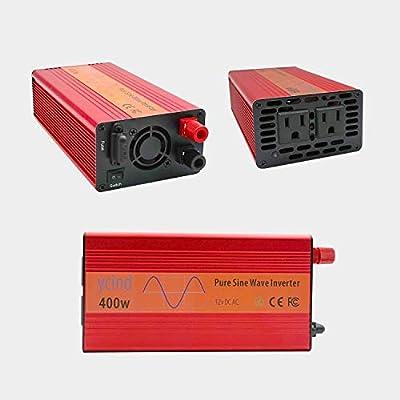 YCIND 400W Pure Sine Wave Inverter Car Inverter 12VDC to 110VAC 2 US Outlets Car Adapter Inverter Charger: Car Electronics