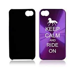 Apple iPhone 4 4S 4G Purple A1725 Aluminum Hard Back Case Cover Keep Calm and Ride On Horse