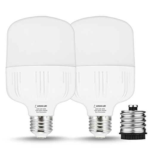 LOHAS 150W Equivalent Commercial Retrofit Light Bulb, 20W T80 E26 LED Bulb for HID/MH Replacement, With FREE E26-to-E39 Converter, 2000 Lumens, Daylight 5000K, for Garage Factory Warehouse (2 Pack)