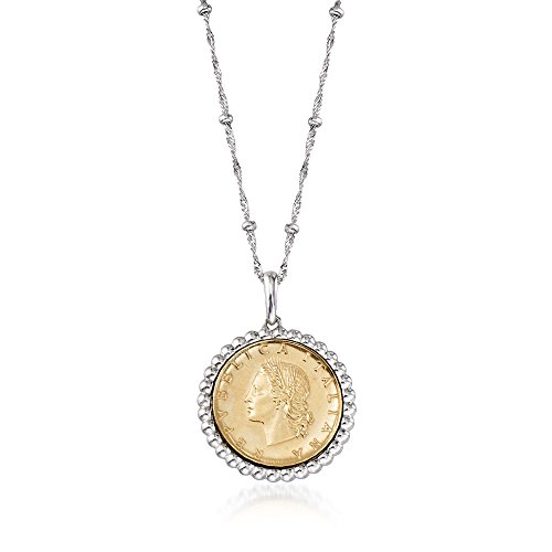 Genuine 20-Lira Coin Pendant Necklace in Sterling Silver ()