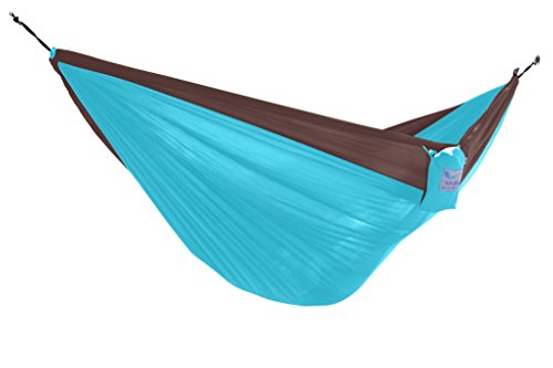 Vivere Parachute Nylon Double Hammock, Chocolate/Turquoise (With Double Stand Vivere Steel Fabric Hammock)