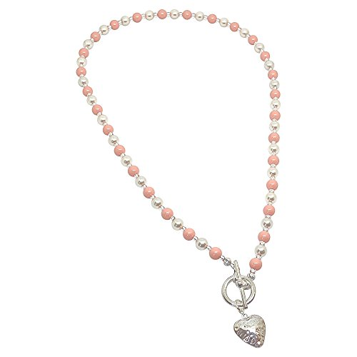 BellaMira Crystal Pearl Necklace Bracelet Earrings Made With Swarovski Pearls - 925 Sterling Silver Jewellery Gift Boxed (Crystal Coral & Cream Pearl T-Bar Necklace)