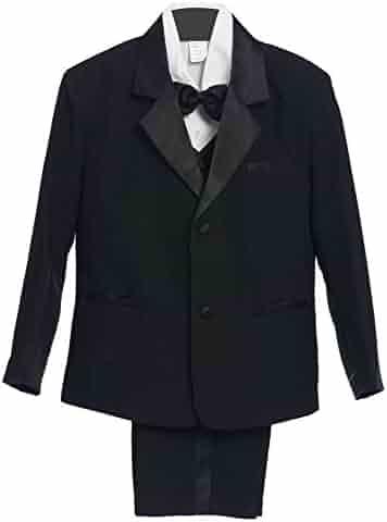 36d155782 Rafael Collection Baby Boys Black 5 Piece Vest Jacket Pants Special Occasion  Tuxedo Suit 3-