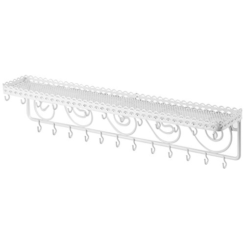 - MyGift 25-Hook Vintage Scrollwork Design Wall Mounted White Metal Cosmetic Storage and Jewelry Organizer Shelf