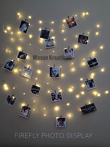 Mason FireFly Lights Silver Wire - Craft clips & Batteries included! Fairy lights battery operated for bedroom, dorm, bedroom, and outdoor, Hangit, warm white, picture lights, Wall lights