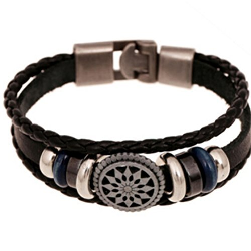 ULAKY Fashion Charm Adjustable Handcraft Dangling Cowhide Leather Bracelet