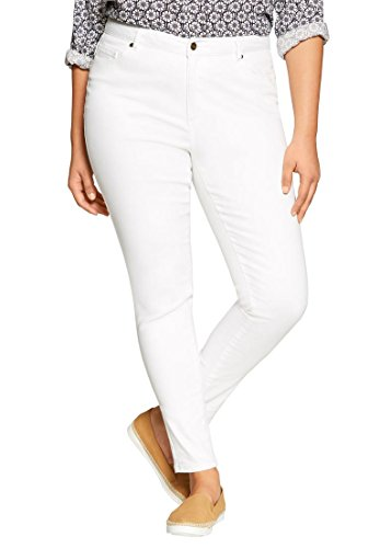 Woman Within Women's Plus Size Ankle Super Stretch Jean White,24 W