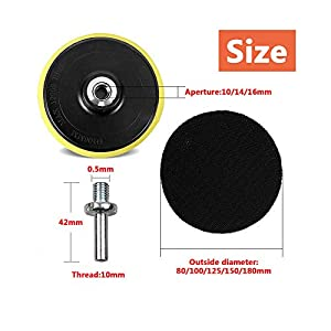 VideoPUP 5PCS 3 inches Buffing Sponge Pad Set Sponge Tray for Car Beauty Polishing Waxing + 1PCS 3 inches M14 Sticky Disk Sucker Grinding and Polishing Sticky Disk Sandpaper Tray Kit