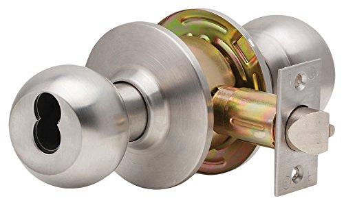 Satin Chrome Dexter Commercial Hardware C2000-ENTR-B-630-KDC Grade2 Entry//Office Cylindrical Lock with Ball Knob Trim 2 3//4 Backset