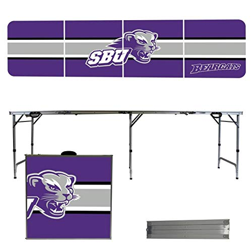 - Victory Tailgate NCAA Southwest Baptist University 8'x2' Foldable Tailgate Table with Adjustable Hight and Spill Resistant Sealant - Stripe Series