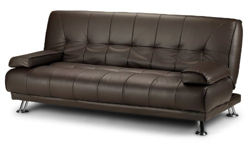 3 Seat Designer Sofa Bed Faux Leather Chrome Brown