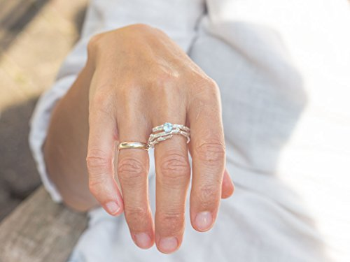 TWIG WITH AQUAMARINE | 18K solid White Gold ring