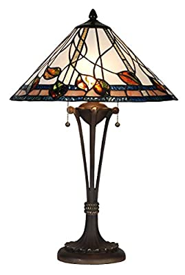 Handcrafted Tiffany Style Table Lamp 16 inch Shade Diameter 24 inch Base Height