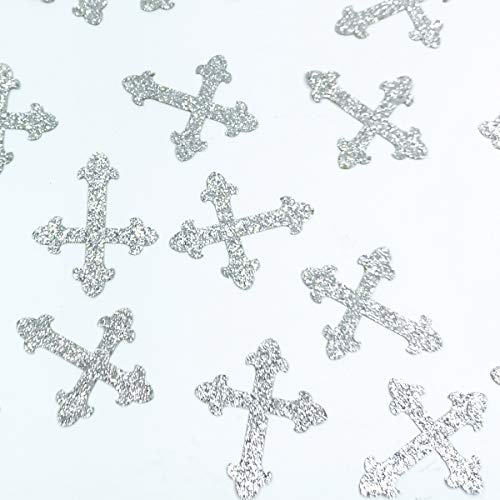 100 Counts Christening Cross Table Confetti for Baby Shower Baptism Party Decorations - Silver]()