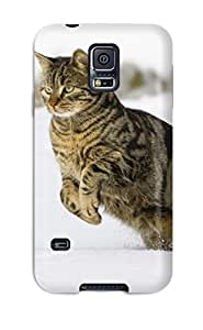 Ultra Slim Fit Hard Alex Case Cover Specially Made For Galaxy S5- Cat Leaping In The Snow