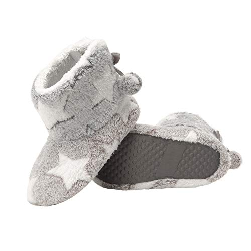 Jessica Simpson Girls Bootie Slippers - Fuzzy Comfy Plush Memory Foam Star Booties Anti-Slip House Slipper Shoe (Grey, Size Extra Large) (Slippers For Little Girls)
