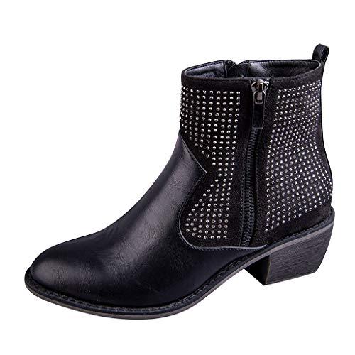 [해외]ZOMUSAR Women`s Boots Women`s Flats Round Toe High-Heeled Rivets Casual Shoes Non-Slip Ankle Booties / ZOMUSAR Women`s Boots, Women`s Flats Round Toe High-Heeled Rivets Casual Shoes Non-Slip Ankle Booties Black