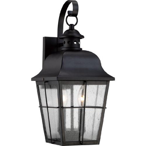 Quoizel MHE8409K Two Light Outdoor Wall Lantern Pendant, Medium, Mystic ()
