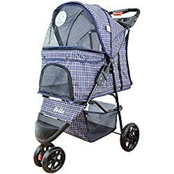 Mkaijzm Dog Stroller Pet Stroller for Puppy Easy Foldable Three Wheels Travel Pet Trolley,max Loading 15 Kg, Mattress Included (Color : Plaid)