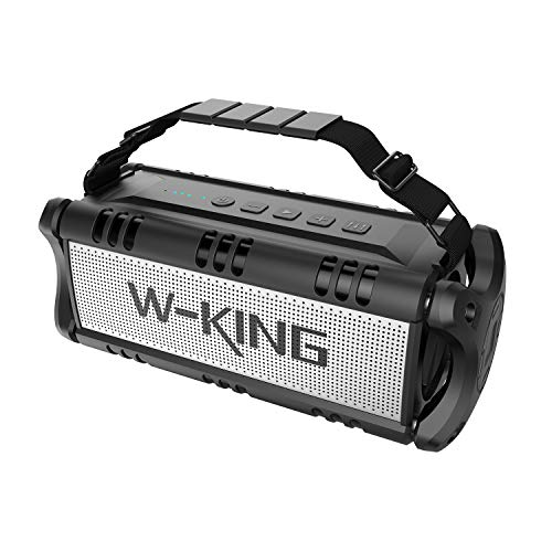 W-KING Bluetooth Speakers, 50W Portable Wireless Speaker, HD Stereo Sound TWS 100W Bass Subwoofer, 24-Hour Playtime, 98ft Bluetooth Range, Built-in 8000mAh Battery Power Bank,for Party Outdoor (Black)