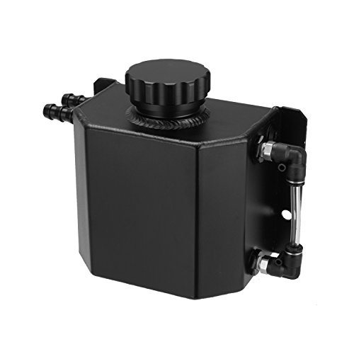 Hwbnde Universal 1L Aluminum Coolant Radiator Overflow Recovery Water Tank Bottle Auto Engine Protector Engine Oil Fuel Gas Catch Can Breather Tank (Black)