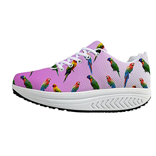 Walking Sneakers Parrot 1 Platform Ups Casual Women Casual Coloranimal Pattern Shoes Wedge Parrot Shape U8a7S