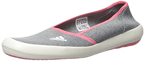 adidas Outdoor Women's Boat Slip-On Sleek Water Shoe, Med Grey Heather/Chalk White/Super Blush, 8 M US