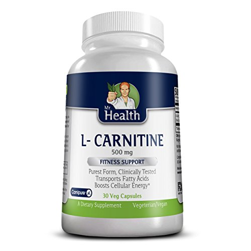 Mr. Health L Carnitine Pure Essential Amino Acids Supplement , 500mg Fitness Support Purest Form Clinically Tested with Trademarked Carnipure™ by Mr. Health