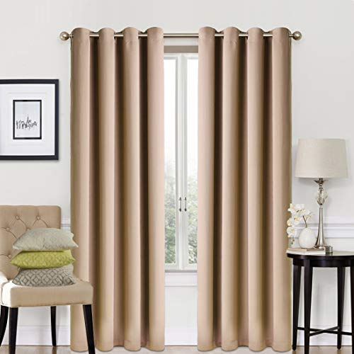 Blackout Curtains 2 Panels Set Room Darkening Drapes Thermal Insulated Solid Grommets Window Treatment Pair for Bedroom, Nursery, Living Room,W52xL84 inch,Khaki