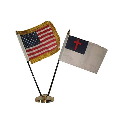 ALBATROS USA American Gold Fringe with Christ Christian Flag 4 inch x 6 inch Desk Set with Gold Base for Home and Parades, Official Party, All Weather Indoors -