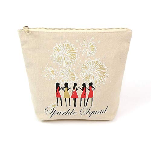5 Pieces Sparkle Squad Bachelorette Wedding Gifts Cosmetic Bag Cotton Canvas Bridal Shower Bride Tribe Squad Hen Party Make up Bags