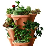 Bio Blooms Self Watering Tower Garden Pots (4 Sides) - Pack Of 3 Pcs Brown Color, UV Treated Planters (Only Pots And Inserts) Bio_32B