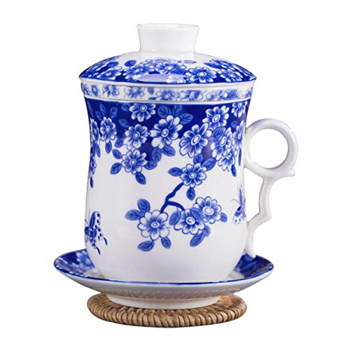 Hwagui - Chinese Blue And White Porcelain Tea Cup Set With Lid, Infuser And Saucer For Loose Leaf Tea And Tea Bags 400ml/13.6oz
