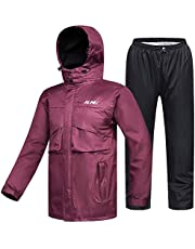 ILM Motorcycle Rain Suit Waterproof Wear Resistant 6 Pockets 2 Piece Set with Jacket and Pants Fits Women (Women's X-Large, Wine Red)